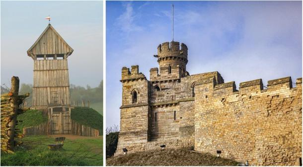 Left: Reconstructed wooden keep at Lütjenburg, Germany, to show what they would have looked like. (Public domain). Right: Lincoln Castle, UK, built in the 11th century by William the Conqueror on the site of existing Roman fortifications. (Colin & Linda McKie / Adobe stock)
