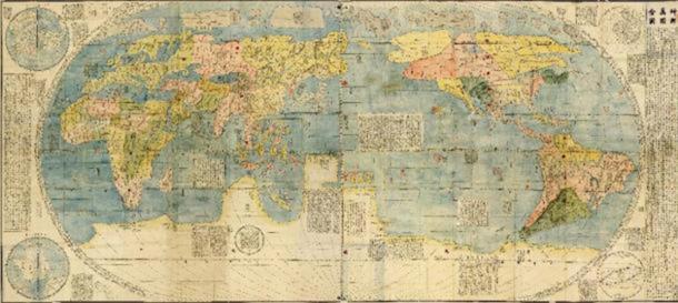 Kunyu Wanguo Quantu. Mapa del mundo chino, alrededor de 1430. (Dominio público)