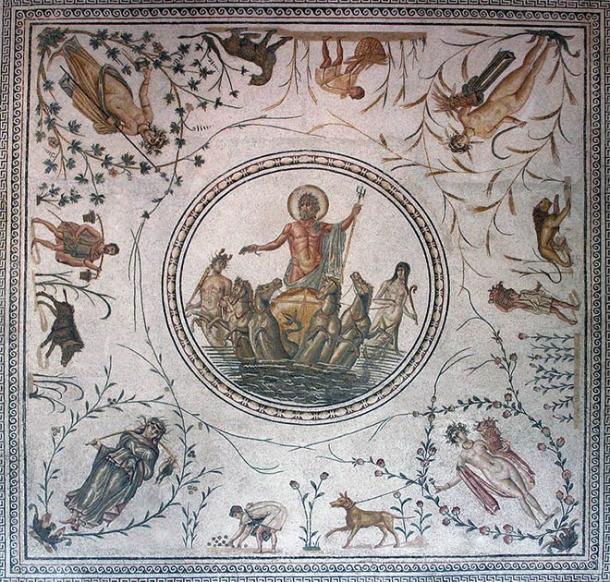 """A finales del siglo II mosaico romano del derecho """"Triumph de Neptuno"""", de La Chebba, Túnez. (Museo Nacional Bardo / CC BY 2.0)"""