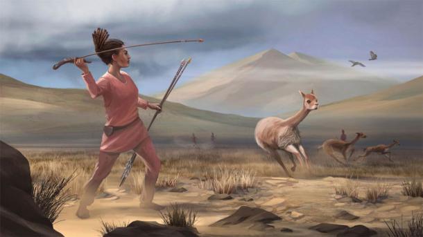 Artists depiction of female hunter 9,000 years ago in ancient Peru. Source: Matthew Verdolivo / UC Davis IET Academic Technology Services