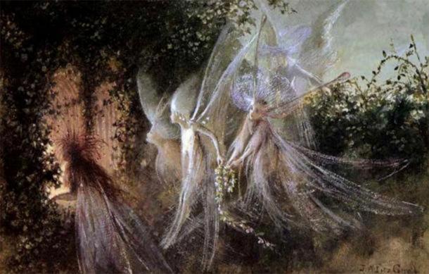 Depiction of faeries looking through a passageway. (John Anster Fitzgerald (1823-1906) / Public domain)