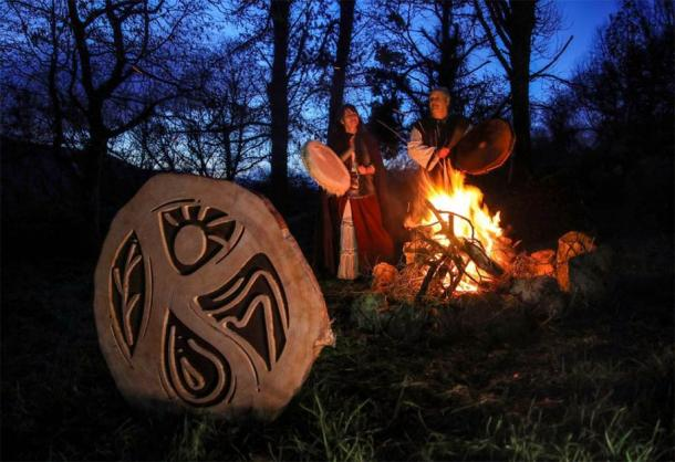 After a decade of bad luck, an Irish farmer contacted University College Cork to ask for help. Their advice was to employ the services of druids Jan and Karren Tetteroo, seen here. (Valerie O'Sullivan / Grove of Anu)