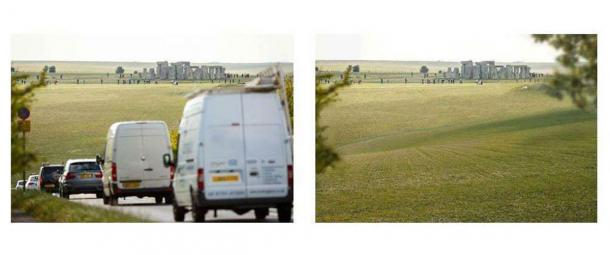 According to English Heritage's A303 tunnel project webpage this image shows the traffic problems now at Stonehenge (on the left) and what the same location would look like after the tunnel is finished (on the right). (English Heritage)