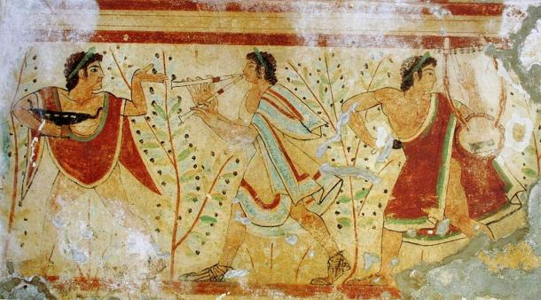 Etruscan painting; dancer and musicians, Tomb of the Leopards, Tarquinia, Italy (Public Domain)