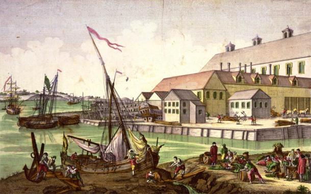 People working on the Salem waterfront wharf, Massachusetts, where supernatural thinking spilled into the Salem witch trials of 1692 and 1693 by Balthasar Friedrich Leizelt. (1770-) (Public Domain)