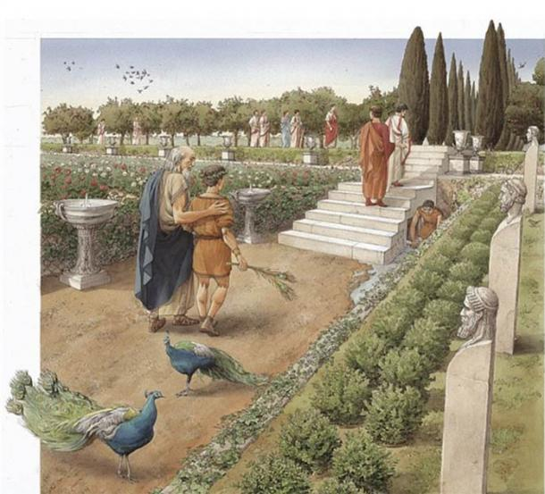 An artist's rendition of what the Caligula palace gardens might have looked like. (Soprintendenza Speciale di Roma)