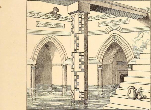 """Drawing of a measuring shaft inside of a nilometer from page 88 of """"Up the Nile, and home again. A handbook for travelers and a travel-book for the library,"""" 1862). (Internet Archive Book Images / Public domain)"""