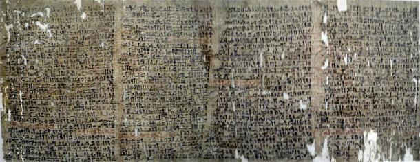 "Merged photos depicting a copy of the ancient Egyptian papyrus commonly known as ""The Westcar Papyrus,"" written in hieratic text. (Keith Schengili-Roberts / CC BY-SA 3.0)"