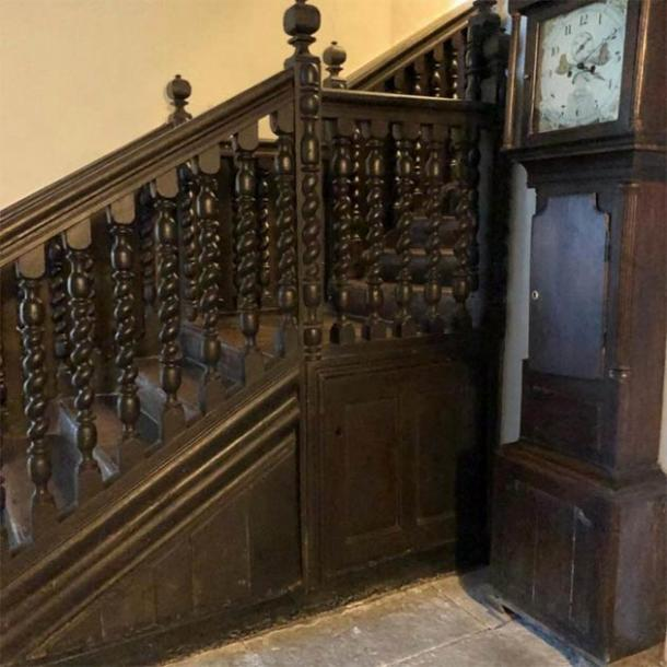 The staircase under which the Welsh witchcraft den was found by the couple living in the medieval house. (Kerrie Jackson / Denbighshire County Council)