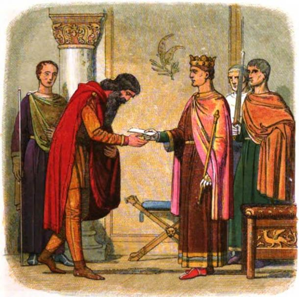 Diarmaid mac Murchadha of Ireland fled to England to beg King Henry II to help him recover his throne. Unable to aid him, Henry II granted him permission to raise forces in England to help his cause. (Public domain)