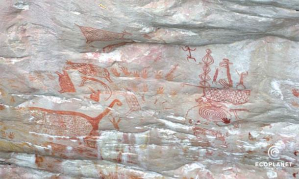 This Ice Age Colombian art was discovered in 2015 in the remote Chiribiquete National Park and is very similar to the 2019 cliffside discoveries. (Francisco Forero Bonell/ Fundacion Ecoplanet)