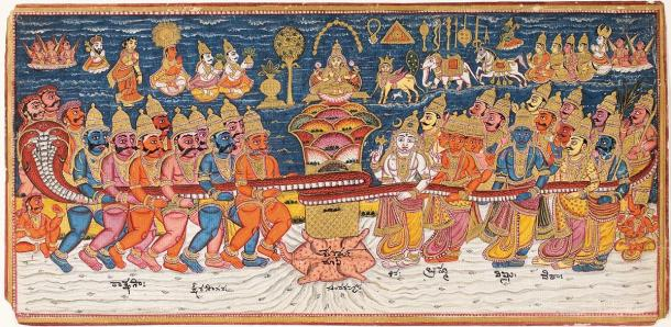 Depiction of the 'Churning of the Ocean of Milk', the elixir of life from Hindu mythology. (Public domain)