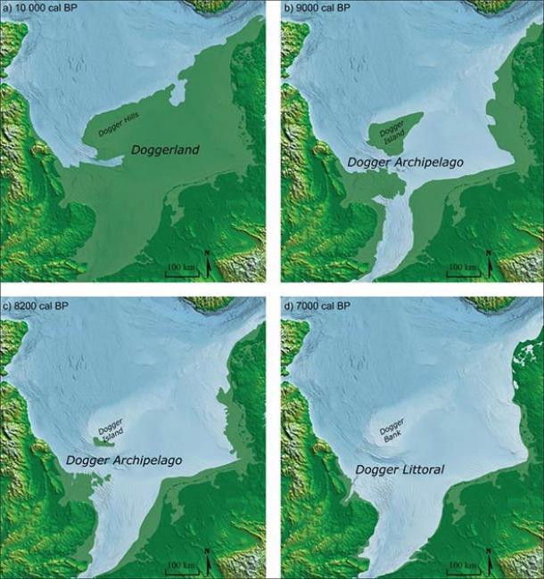 North Sea coastline reconstructions for: a) Doggerland c. 10 000 cal BP; b) Dogger Archipelago c. 9000 cal BP; c) Dogger Archipelago c. 8200 cal BP; d) Dogger Littoral c. 7000 cal BP. (Image by M. Muru/ Walker et al.2020/Antiquity Publications Ltd)