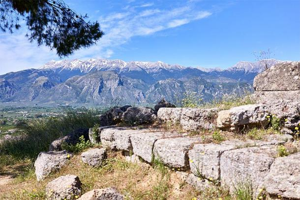 Archaeologists have used ancient texts to pinpoint the exact location of the Kaidas Cave, which has been identified in the slopes of Mount Taygetus, seen here in an image taken from the ruins of the Sanctuary of Menelaus and Helen in Sparta. (George E. Koronaios / CC0)