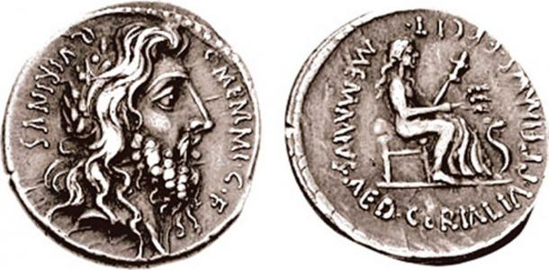 Denarius featuring the laureate, long-haired, and bearded head of Quirinus (Romulus). (Classical Numismatic Group, Inc./ CC BY SA 3.0 )