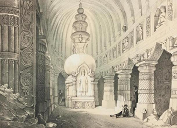 Sketch of the interior of Ajanta cave 19 (the big chaitya) by James Fergusson (1808-1886). (Public Domain)