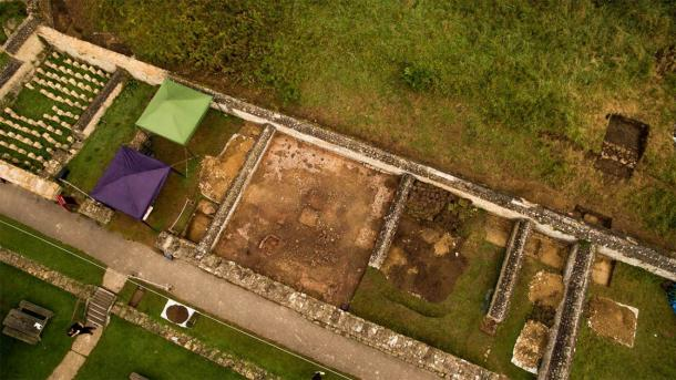 The Chedworth Roman villa site where the mosaic (to the right of the tent coverings) was found. (National Trust)