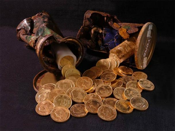 These South African Krugerrand gold coins were also discovered. (British Museum / PAS)