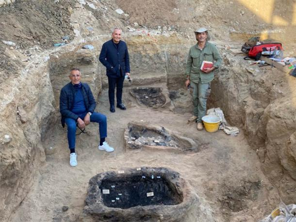 Archaeologists at the dig site on the island of Sicily where the Greek burial was discovered. (Superintendence of Caltanissetta)