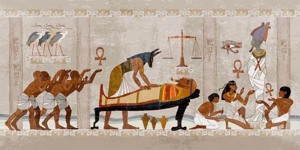 The ancient mummification process, a mythological interpretation of Anubis and others working on a pharaoh mummy, and how certain balms darkened the Egyptian skin of the mummy. (Matrioshka / Adobe Stock)