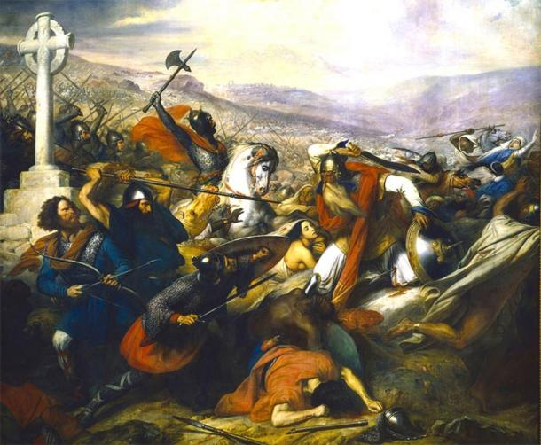 A triumphant Charles Martel (mounted) faces Abdul Rahman Al Ghafiqi (right) at the Battle of Tours. Source: Bender235 / Public Domain.