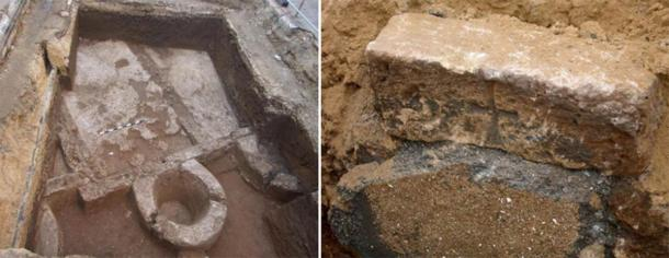 A Byzantine wine press and a grave marker bearing a Byzantine cross. (Yuval Arbel, Israel Antiquities Authority and Dr. Amir Gorzalczany)