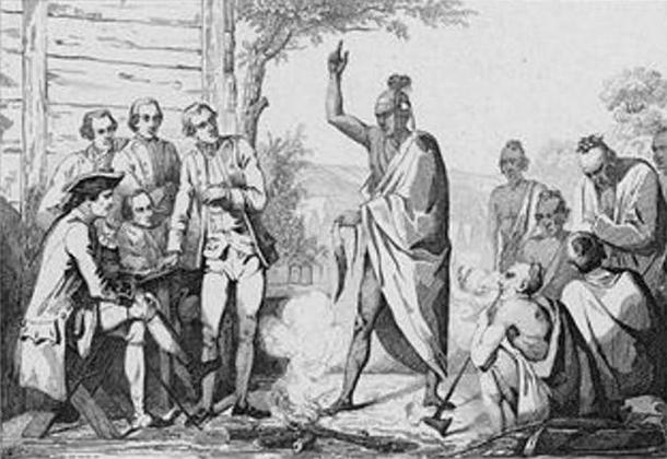 First conference between the French and First Nations leaders, by Émile Louis Vernier. (circa 1887) (Public Domain).