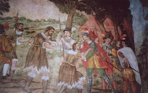 Guanche kings of Tenerife surrendering to Alonso Fernández de Lugo. (Public Domain)