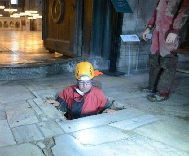 An archaeologist descending below the main floor of Hagia Sophia to the subterranean realms below. (Beneath The Hagia Sophia)