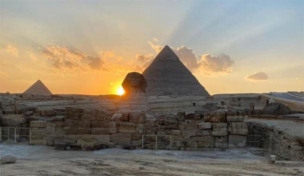 Egyptian Ministry of Antiquities photo showing the sun set along Khafre's pyramid at equinox. (Ministry of Antiquities)