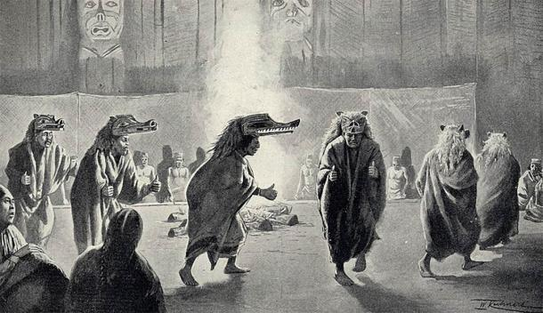 The Hamatsa or Cannibal dance of the Kwakiutl People cannot simply be understood as a dance. It is the culmination of the winter ceremony and the most decisive winter dance. The image shows a painting by Wilhelm Kuhnert which was printed in the 1897 classic Kwakiutl Indian study by Franz Boas. (Public domain)
