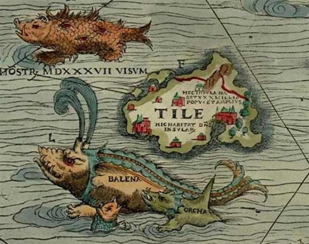 """Thule, as """"Tile"""" on Olaus Magnus´ 1539 AD Carta Marina of 1539, located to the northwest of the Orkney islands with the words """"monster, seen in 1537"""", a whale, or balena and an orca. (Public Domain)."""