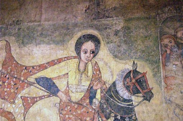 17th-century AD painting of the Queen of Sheba from a church in Lalibela, Ethiopia.  National Museum of Ethiopia in Addis Ababa (CC BY-SA 2.0)