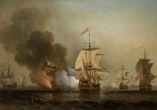 Wager's Action off Cartagena, 28 May 1708 by Samuel Scott (Public Domain)
