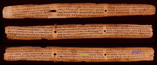 This is one of the oldest surviving and dated palm-leaf manuscript in Sanskrit (828 AD). Discovered in Nepal, the bottom leaf shows all the vowels and consonants of Sanskrit (the first five consonants are highlighted in blue and yellow).( Ms Sarah Welch / CC BY-SA 4.0)