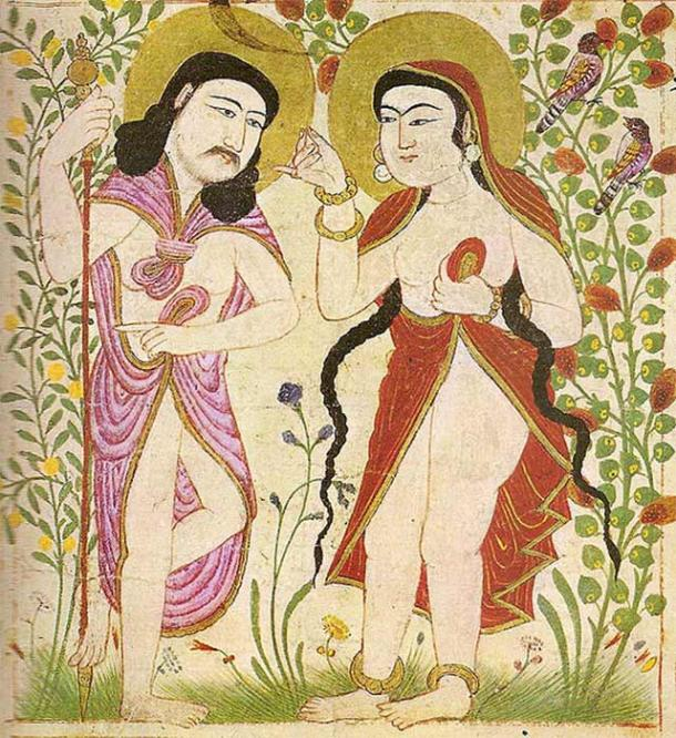Painting from Manafi al-Hayawan (The Useful Animals), depicting Adam and Eve, from Maragh in Mongolian Iran. (1294) (Public Domain)