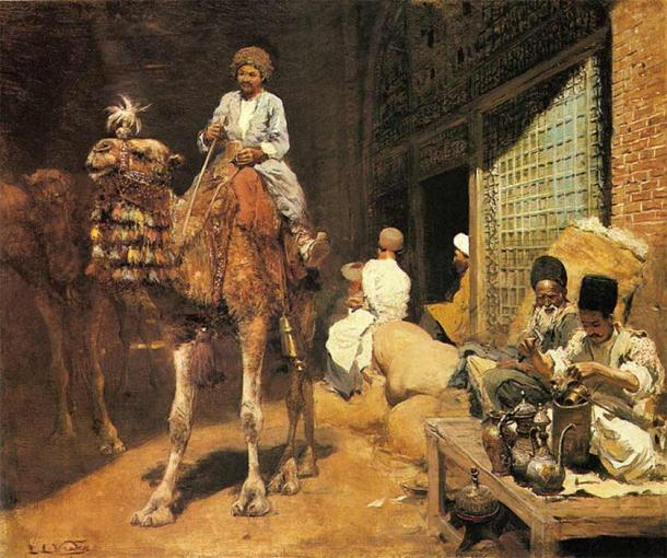 Domesticated camels gave rise to trade opportunities. A Marketplace in Ispahan by Edwin Lord Weeks (1849 – 1903) (Public Domain)