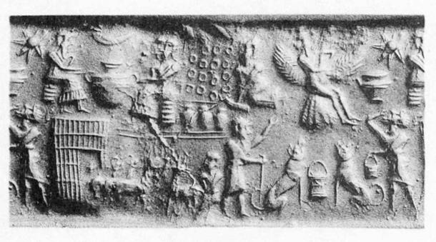 The Myth of Etana. Seal impression of the Akkadian Empire period. (Public Domain)