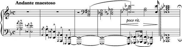 Franz Liszt's use of the Tritone to suggest Hell in his Dante Sonata (1855) (Public Domain)