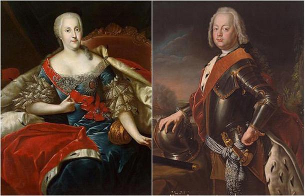Princess Johanna Elisabeth of Holstein-Gottorp (left) and Prince Christian August of Anhalt-Zerbst (Left, Public Domain, Right, Public Domain)