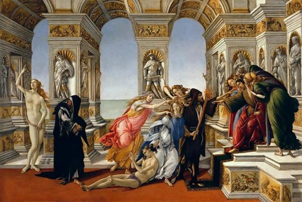 Greek artist Apelles' 'On Calumny 'by Sandro Bocelli (1496) depicting Slander, Ignorance, Suspicion, Fraud and Conspiracy as women. (Public Domain)