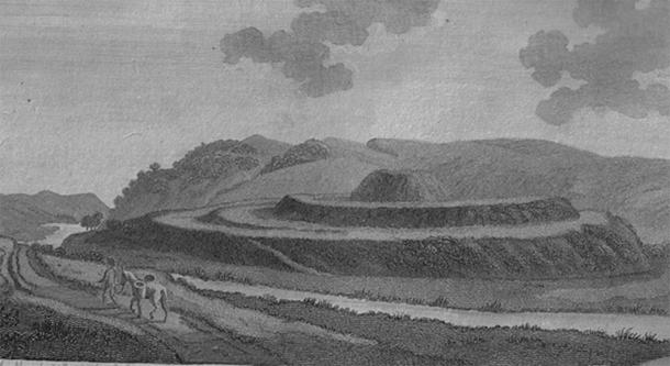 Motte of Urr in Dumfries & Galloway, Scotland, near Dalbeattie in Francis Grose Antiquities of Scotland by Roger Griffith (1797) It was the great judicial center of the Kings of Galloway, covering the lands below the waters of the River Cree (Public Domain)