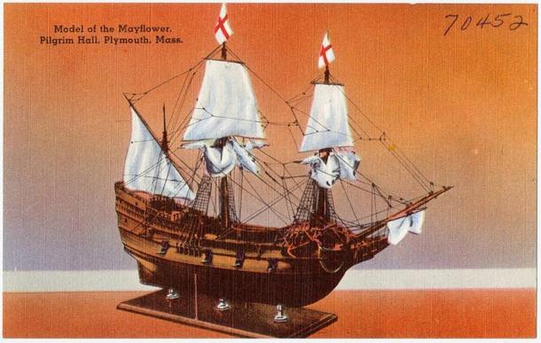 Model of the Mayflower, Pilgrim Hall, Plymouth. (Public Domain)