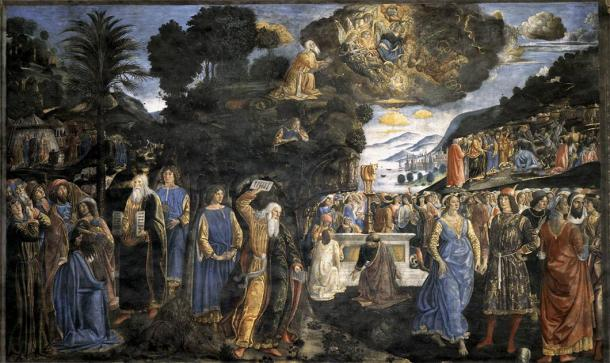 Tablets of the Law with the Golden Calf, by Cosimo Rosselli, 1481-1482 AD (now in the Sistine Chapel, by Web Gallery of Art). (Cosimo Rosselli / Public domain)