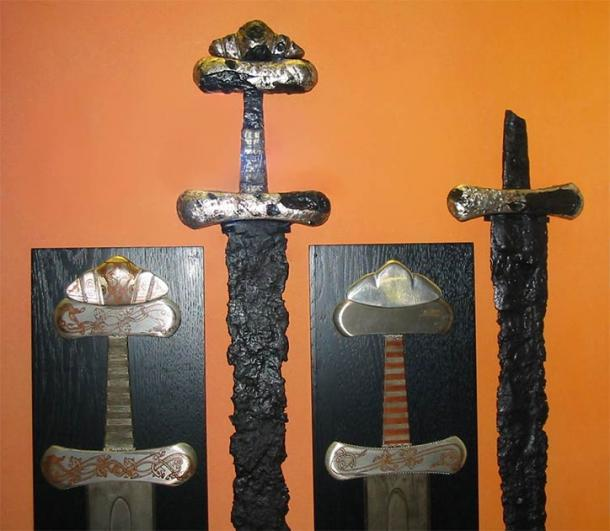 Swords excavated at Viking Age burials. As you can see the unique pommels typical of Viking swords. (viciarg / CC BY-SA 3.0)
