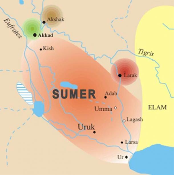 Sumer Map indicating location of Uruk (Summa/ CC BY-SA 3.0)