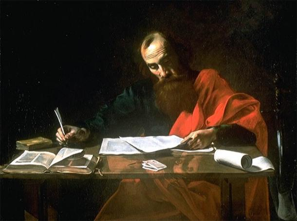 Saint Paul Writing His Epistles by Valentin de Boulogne (1650) Blaffer Foundation Collection, Houston (Public Domain)