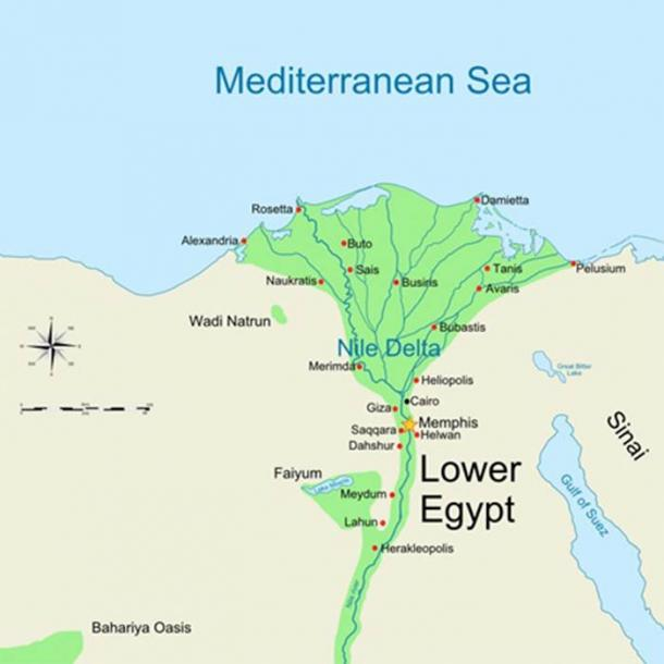 Map of ancient Lower Egypt showing Heliopolis ( MinisterForBadTimes/ CC BY-SA 3.0)