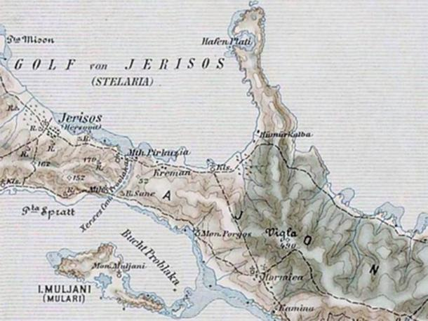 Map of Athos, showing the Xerxes Canal. Military mapping authority of Austria-Hungary (Public Domain)