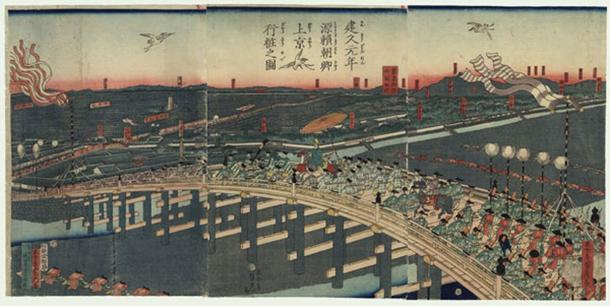 Shogun Minamoto no Yoritomo's procession to Kyoto at the founding of the Kamakura Shogunate -- woodblock print by Utagawa Sadahide, circa 1860. (Public Domain)